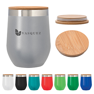 12oz Vinay Stemless Wineglass with Bamboo Lid